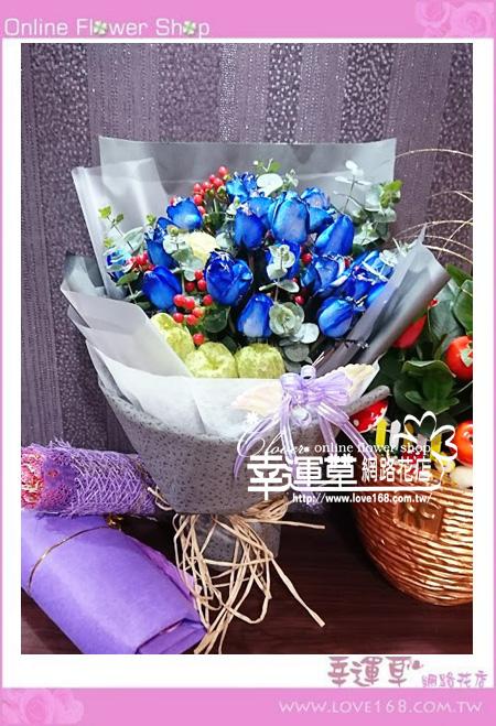藍玫花束A0329