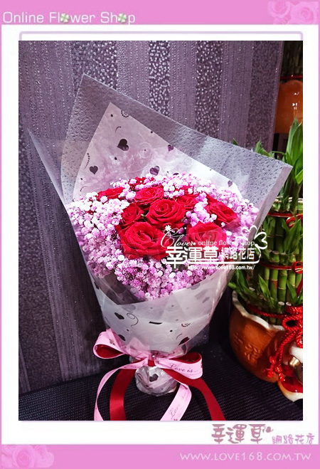 滿天星玫瑰花束A0823