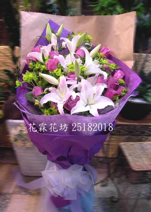 深情花束<BR>紫玫10朵+香水百合~G174