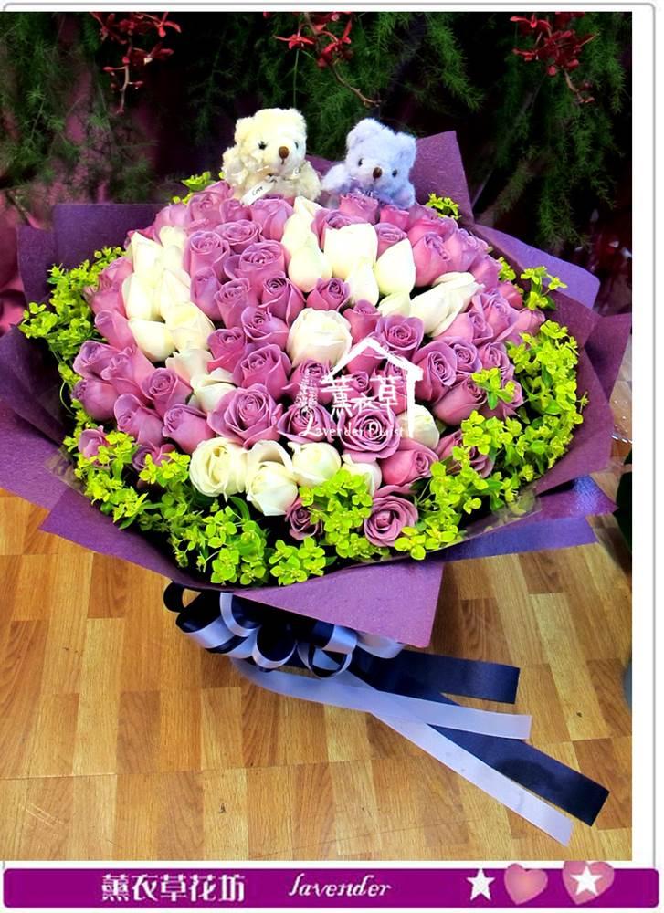 白玫瑰&紫玫瑰99朵設計y435485