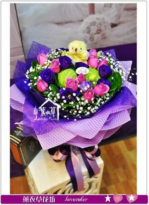 浪漫紫玫瑰花束a121705