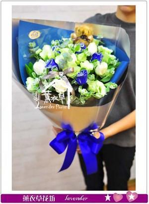 藍&白玫瑰花束B111206