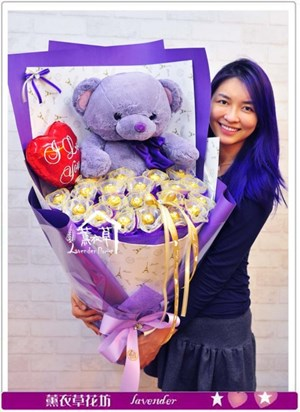 紫色浪漫熊熊花束b041605