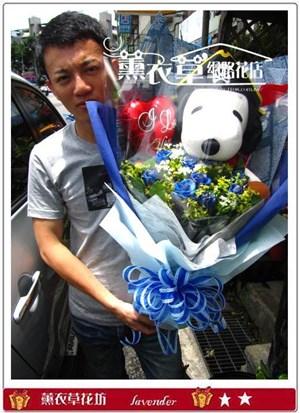 史努比+11朵藍玫瑰y30915