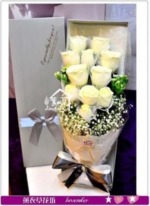進口白玫瑰花盒a061024