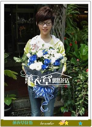 藍玫瑰花束9朵y4053