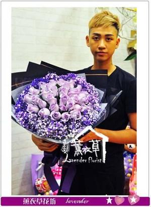 荷蘭空運紫色真心紫玫瑰花束 106082519