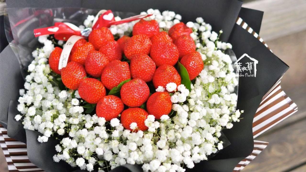 美麗又可口的「草莓花束」🍓 🍓 🍓