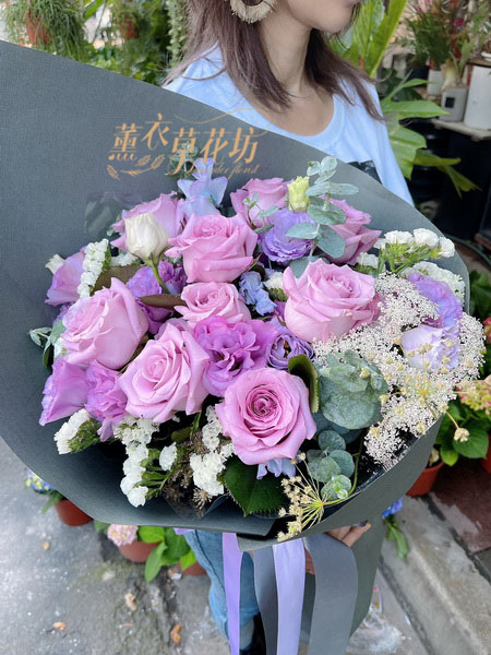 紫玫瑰花束110031615