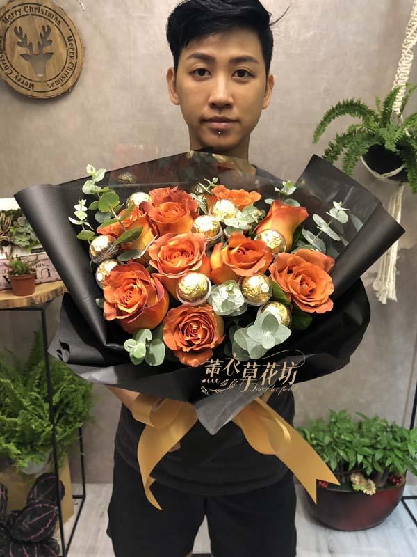 荷蘭進口玫瑰~乾燥巧克力色系107092601