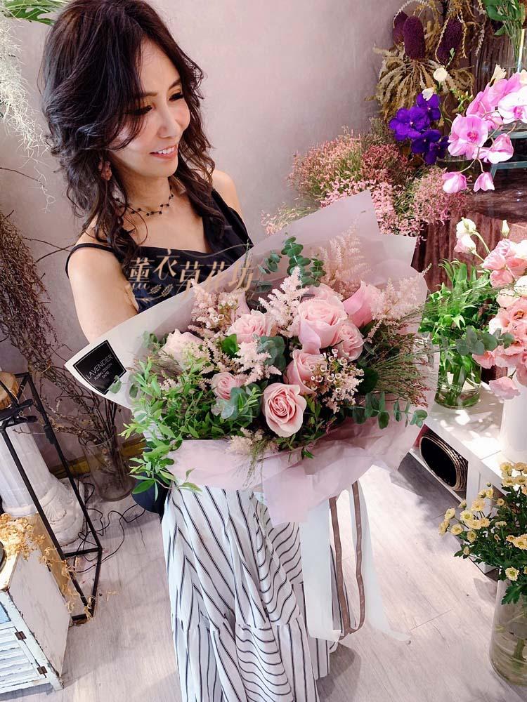荷蘭進口粉色玫瑰花束108060907