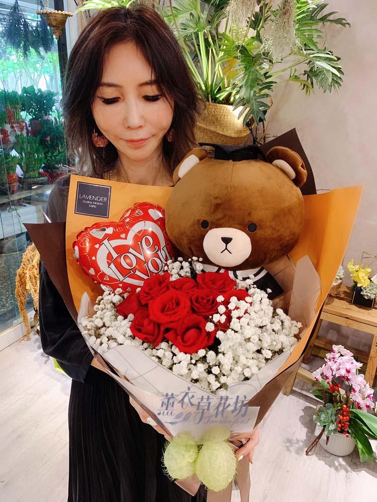 缺貨-畢業熊熊~大隻熊~<BR>+10朵紅玫瑰y30613