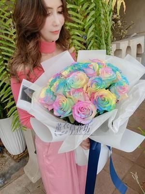 荷蘭進口/彩色馬卡龍漸層玫瑰109032303