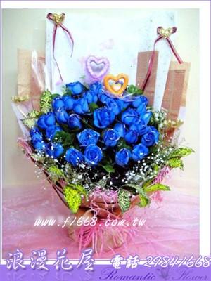 藍玫33朵花束 A53