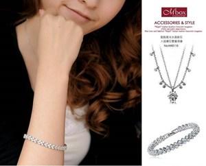 羅馬水晶鑽石手鍊<BR>AAA頂級鋯石kk111