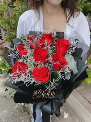 進口紅玫瑰9朵 花束 109061015
