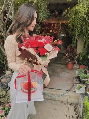 母親節花禮組合~花束&牡丹花蛋糕 設計 109032616