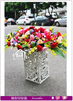 會議桌盆花~緞帶花A072006