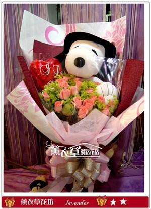 史努比+20朵粉玫瑰y31618
