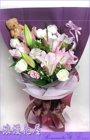 玫瑰百合花束 A201