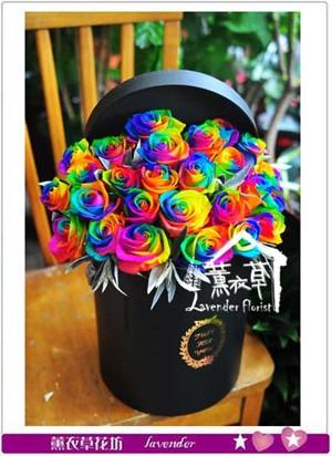 荷蘭進口七彩玫瑰花盒~情人節限定款 106030103