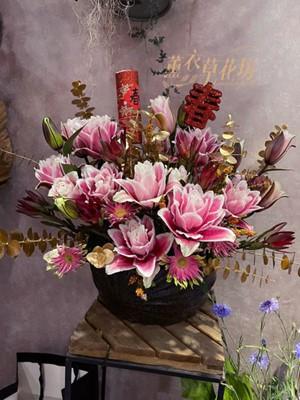 重瓣香水百合盆花設計 110012737
